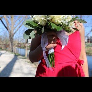 ASOS bright red wrap maxi dress